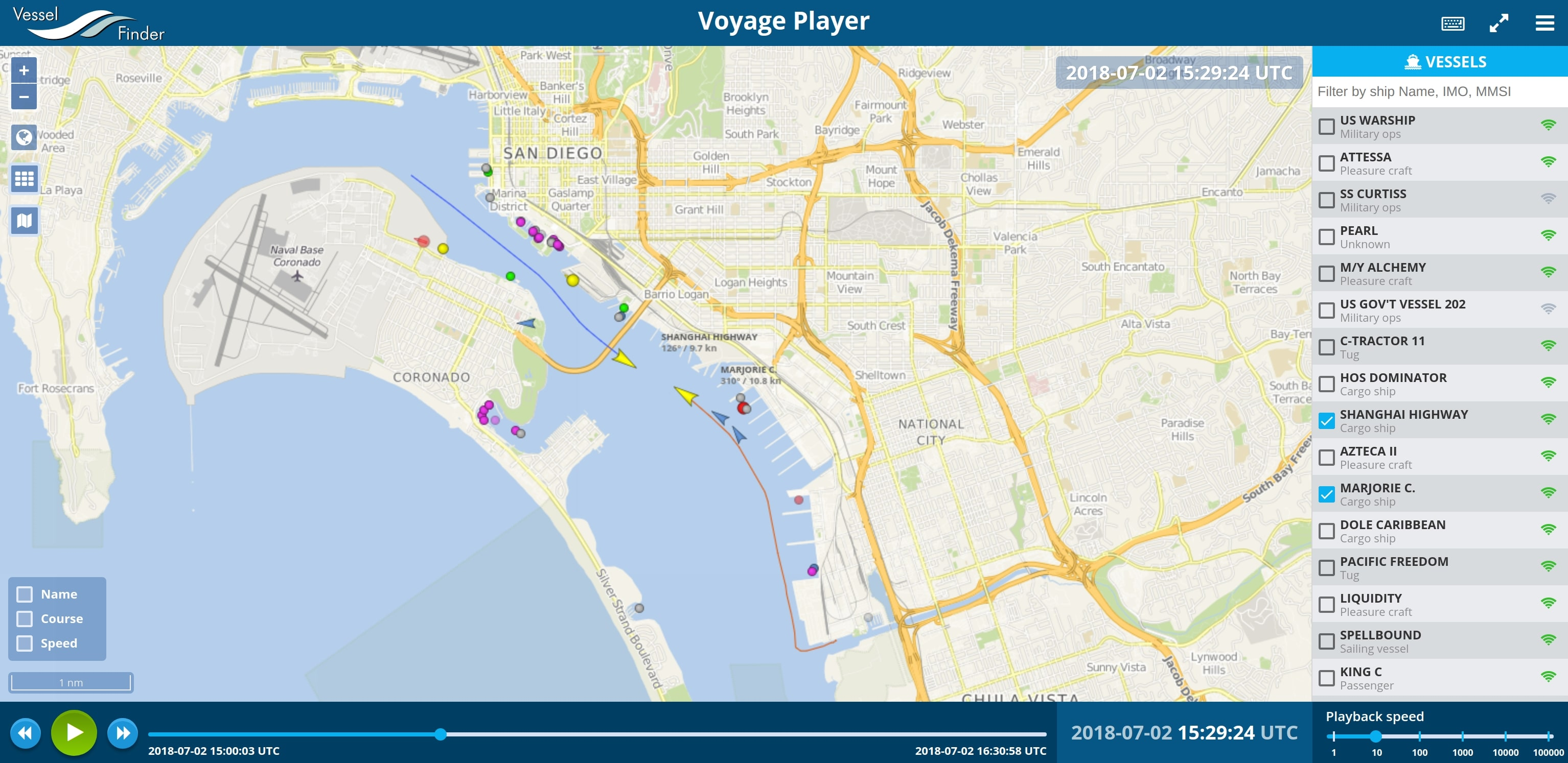 tool for AIS ship position data playback on a navigational chart