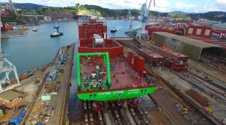 VIDEO: Launch 'Living Stone' at the LaNaval shipyard Bilbao, Spain