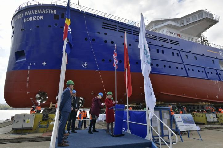Bibby WaveMaster Horizon' launched and named at Damen Shipyards Galati