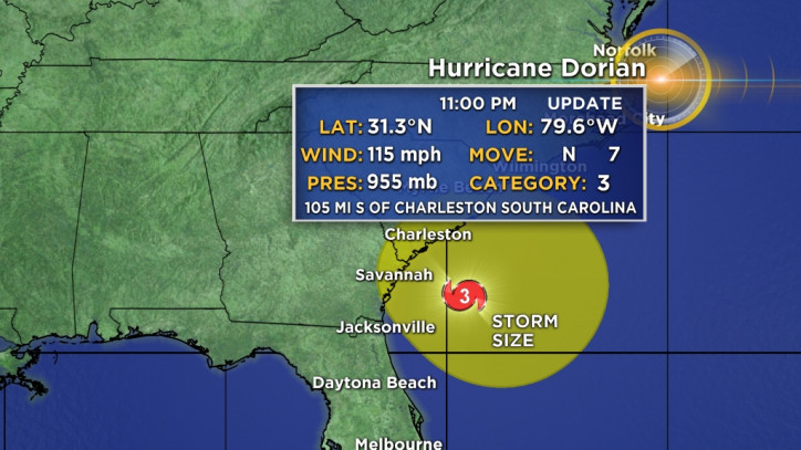 Hurricane Dorian heads to Mid-Atlantic states