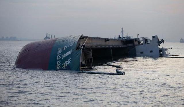 The general cargo ship Jiang Xia Xiang capsized after collision with tanker BAI CHI in Yangtze river on July 23