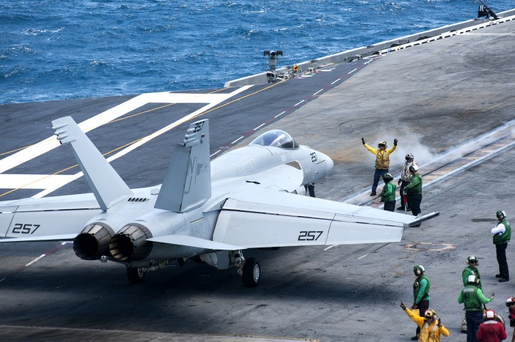 F/A-18E Hornet assigned to the Flying Eagles of Strike Fighter Squadron (VFA) 122 prepares to launch from the flight deck of USS Truman: