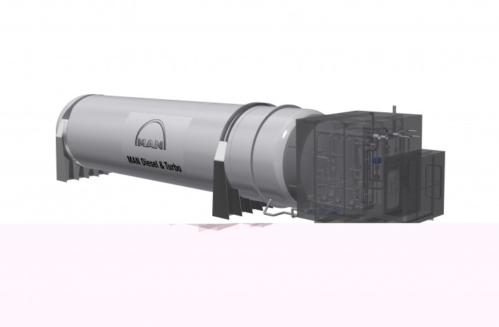 Rendering of the MAN Cryo vacuum insulated storage tank plus auxiliary equipment to be installed aboard the new ferry