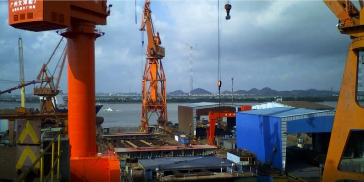 Building of Containerships' new LNG vessels in progress at Wenchong Shipyard, Guangzhou