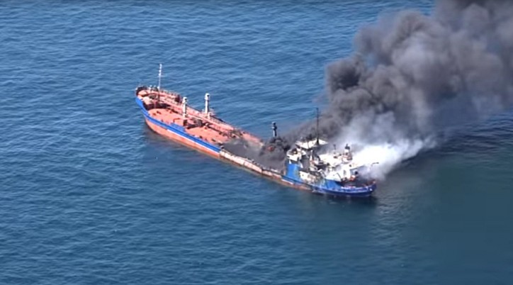 Russian tanker Palflot-2 catches fire in Caspian Sea, 1 crew member reported killed (VIDEO)
