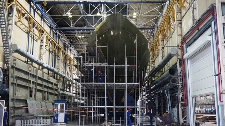 United Shipbuilding Corp's SNSZ Shipyard starts outfitting of Aleksandrit-class minesweeper Ivan Antonov