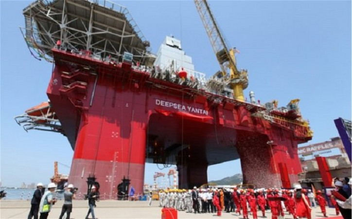 Deepsea Yantai - a newbuild semi-submersible drilling rig destined for operations in Norway, launched in China