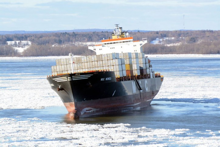 Container ship MSC Monica hard aground on St. Lawrence River