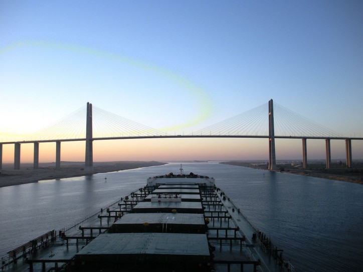 Capesize bulk carrier transiting the Suez