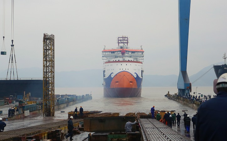 Video: Launch of Bravenes subsea rock installation vessel