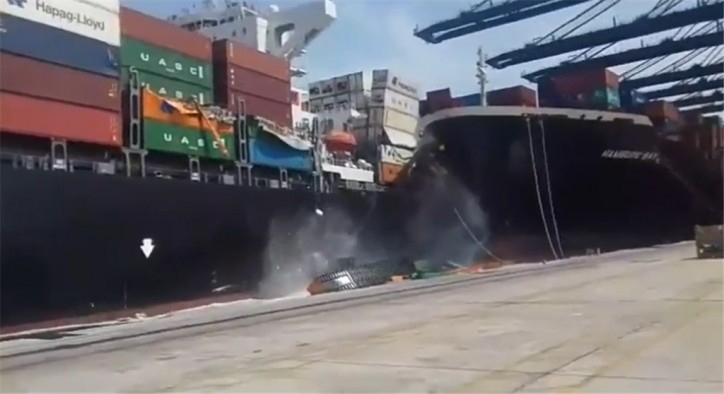 Large container ships collide in Karachi Port; Reports for 21 floating containers; Port temporarily closed (Video)