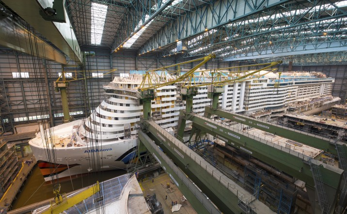 AIDAnova scheduled to leave the MEYER WERFT covered building dock on 21 August