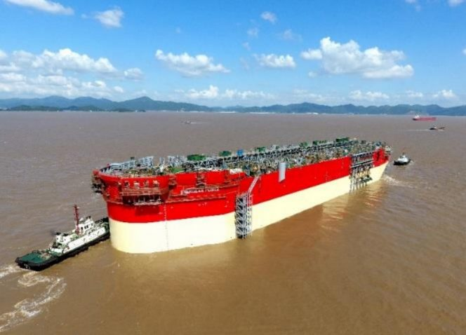 Energean Power FPSO hull floated out of the COSCO Shipyards' dock (Video)