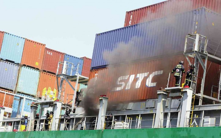 Marshal islands-flagged Container vessel Cape Moreton caught fire in Manila port