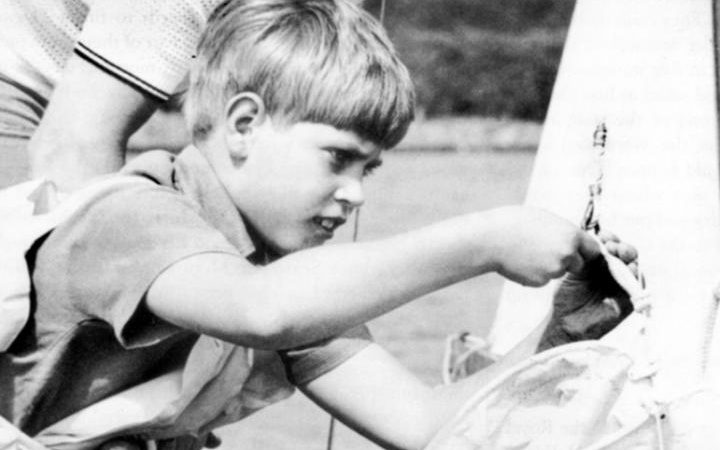 1976: Prince Edward helps to rig a sailing dinghy during the Royal family's Western Isles cruise