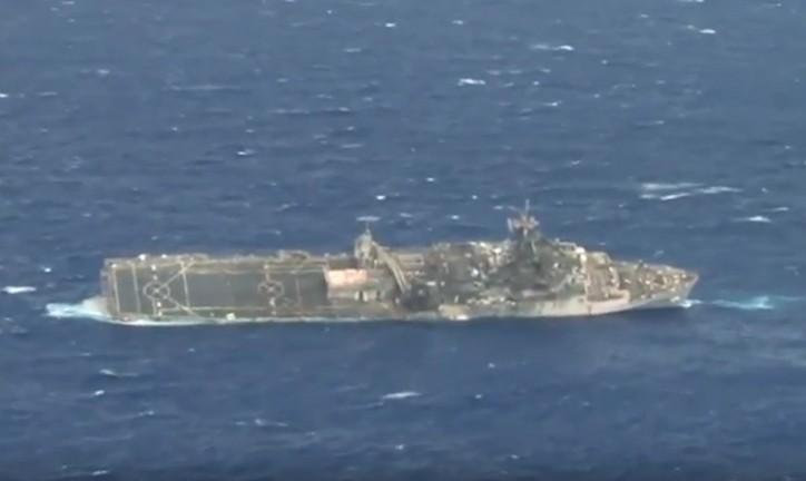Watch: USS Ogden sinking after a hit by Naval Strike Missile during SINKEX RIMPAC 2014