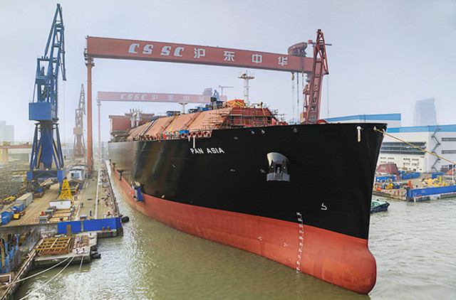 China's biggest LNG carrier launched in Shanghai (Video)