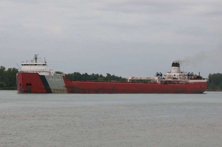 Motor Vessel Roger Blough hard aground on Gros Cap Reef in Lake Superior