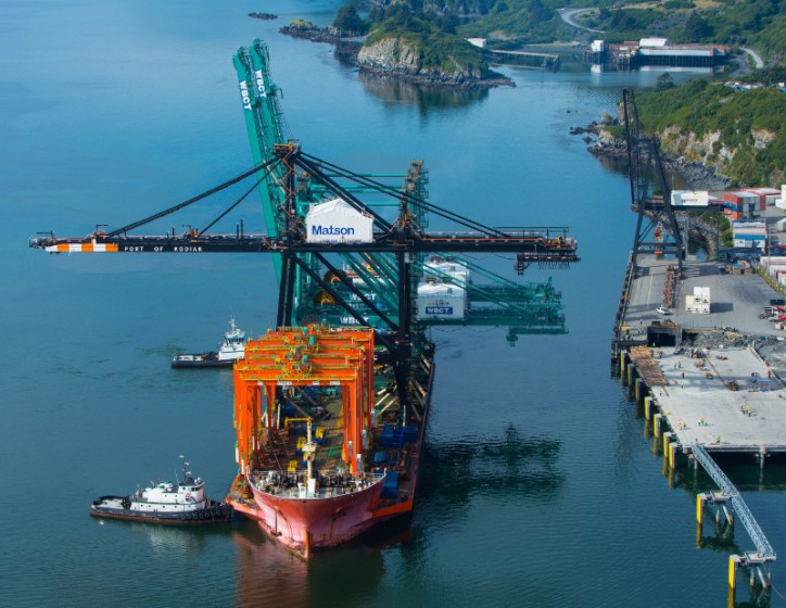 Matson takes delivery of Alaska's Biggest Crane at Kodiak