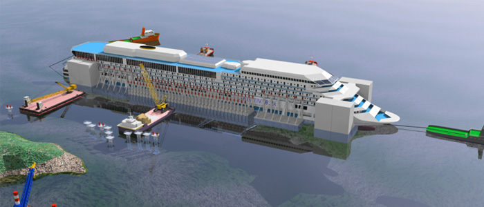 parbuckling project for the wreck removal of Costa Concordia on July 14