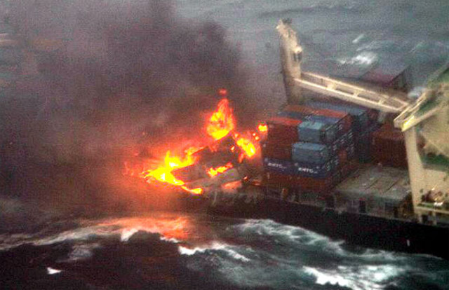 Containership Kamala on fire in East China Sea