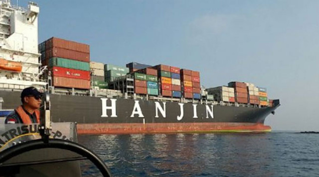 Container ship HANJIN AQUA hard aground in Sunda Strait