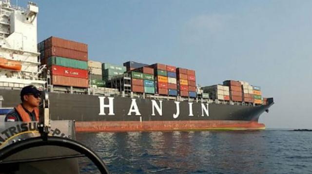 Container ship HANJIN AQUA hard aground in Sunda Strait