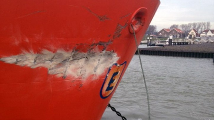 Tanker Georg Essberger suffered bow damage after allision with Stena quay in Hoek van Holland on Jan 19, 2016.