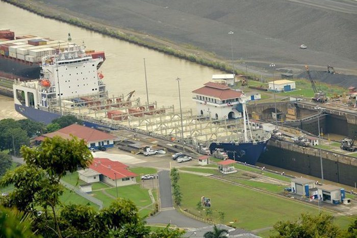 MV Isla Bella passes through the Panama Canal