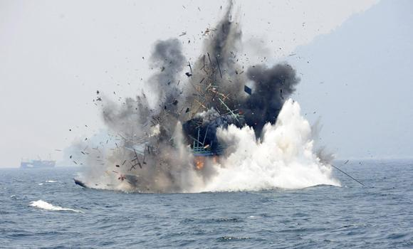 A senior official at the Indonesian maritime affairs ministry said that five of the fishing boats have been blown up with dynamite while the others have been scuttled.