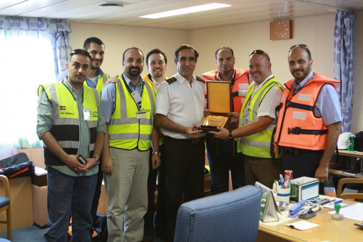 Aqaba Container Terminal's COO, Mr. Robert Snow welcomed UASC UNAYZAH to Aqaba and ACT, he presented a commemorative plaque to the Captain on this maiden call.