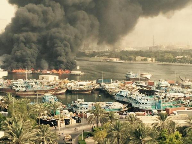 Major fire at Dubai Creek, Several ships burst into flames