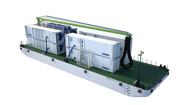Damen can deliver the InvaSave technology in a self-sufficient mobile container, which can be put onboard a service barge or moved around the port on a trailer or a pontoon.