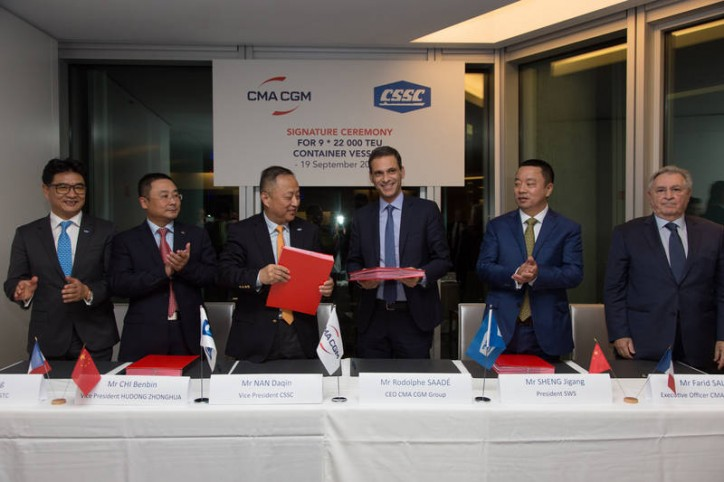 CMA CGM chooses the Chinese shipyards CSSC to build its 9 vessels of 22,000 TEU, the largest containerships