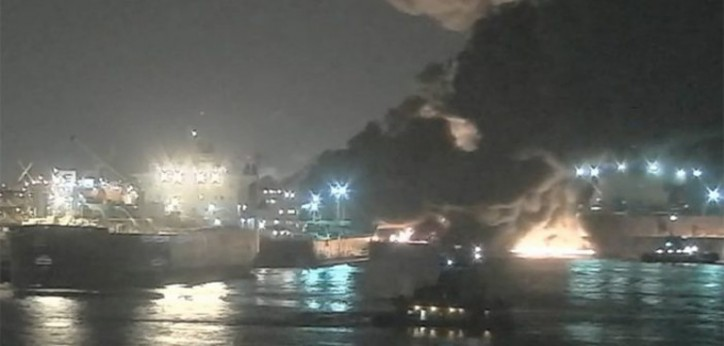 USCG, local agencies respond to tanker fire near La Porte, Texas; Houston Channel reopened (Video)