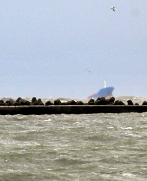 The sinking cargo ship Gokbel after she collided with merchant vessel Lady Aziza near Ravenna port