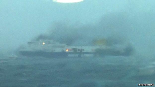 Burning ferry ship Norman Atlantic in Corfu