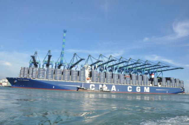 CMA CGM largest container ship arrives at Malasyian Port Klang Terminal