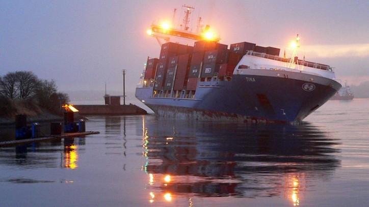 Container ship Tina Runs Aground off the Kiel Canal locks in Holtenau, Germany