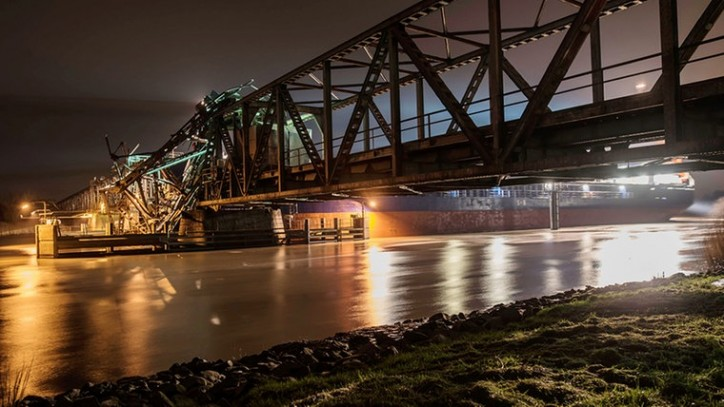 EMS Bridge damaged in Papenburg, Germany after allision with general cargo ship Emsmoon on Dec 3, 2015.
