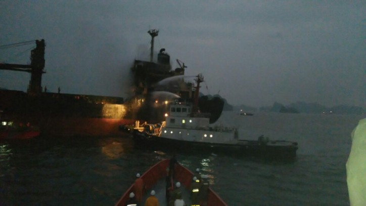 Bulker South Star on fire in Tonkin Bay, Vietnam
