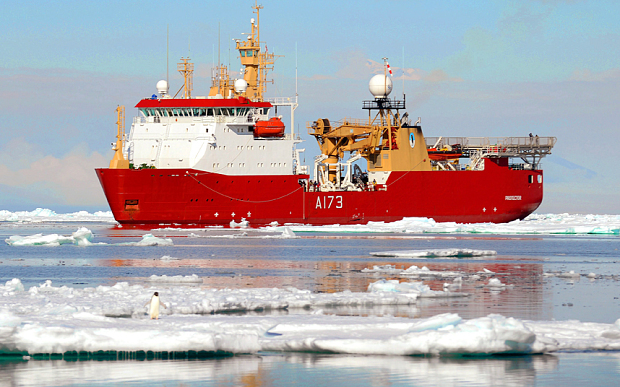 HMS Protector operating off Cape Evans