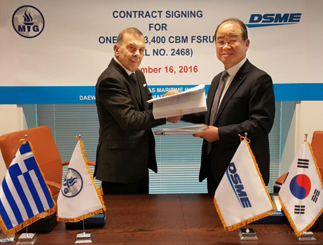 DSME awarded contract by Maran Gas to build 173,400 m3 LNG-FSRU