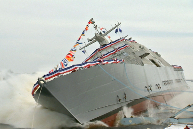 U.S. Navy launches nation's 11th littoral combat ship - USS Sioux City (Video)