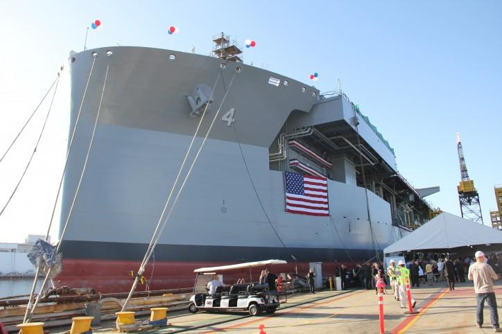"General Dynamics NASSCO Christens USNS Hershel ""Woody"" Williams"
