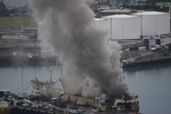 Fishing trawler Desert Rose caught fire in Lyttelton Port of Christchurch, New Zealand on Apr 18,2016.