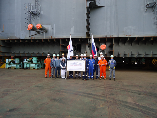 Samsung Heavy Industries holds the keel laying ceremony for the lead ship of the project 42К Arctic Shuttle Tanker