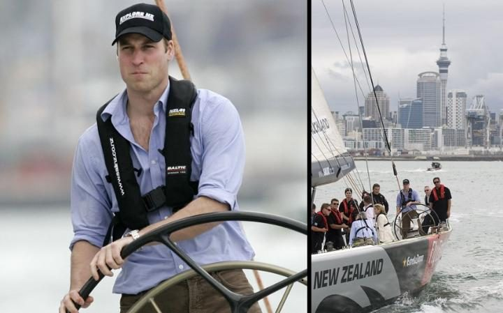 2010: Prince William concentrates at the helm onboard America's Cup yacht NZL41 while in Auckland on a 3 day visit