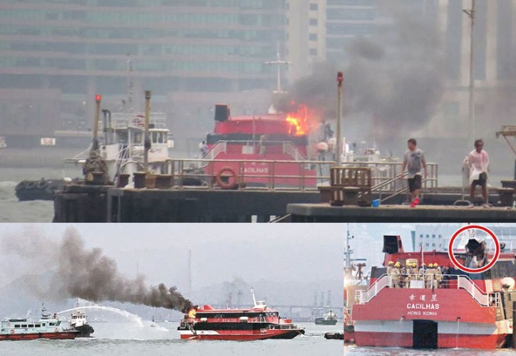 Hong Kong high-speed ferry on fire