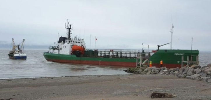 Russian tanker ZAPADNYY runs aground on sand at Silloth Harbour, UK